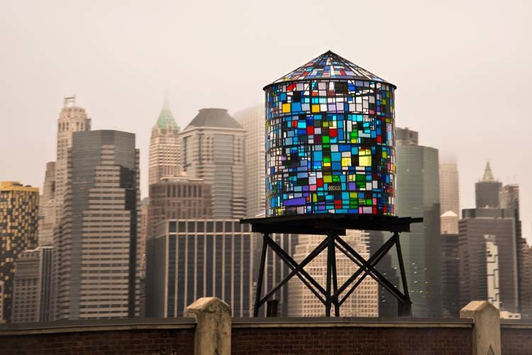 Stained Glass Water Tower Mosaic in New York